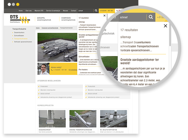 Dutch Tec Source website functionaliteiten