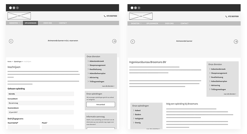 Broomans wireframes
