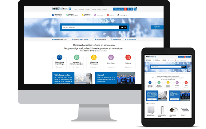 VDW Coolsystems webshop responsive